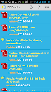 IOE Results app - screenshot