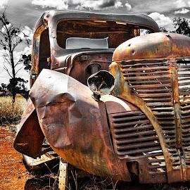 Desert wreck by Leon Chester - Transportation Automobiles ( car, car wreck, selective colour, desert, automobile, wreck, rusted, rusty )