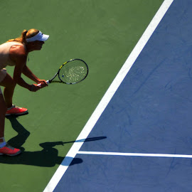 Awaiting the Serve by Lorraine D.  Heaney - Sports & Fitness Tennis