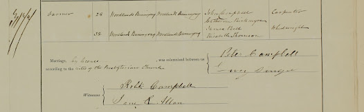 The marriage certificate between Lucy Singer and Peter Campbell from the Presbyterian Church in Buninyong, on 28 July 1874, reproduced with kind permission from the Registry of Births, Deaths and Marriages Victoria.
