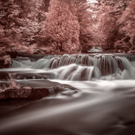 Cherry Blossom Falls by Andy Taber - Landscapes Waterscapes ( water, stream, infrared, waterfall, trees, river,  )