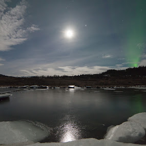 Iced river by Benny Høynes - Landscapes Waterscapes ( moon, aurora, iceflakes, norway, river )