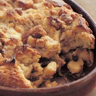 Banana-Raisin Bread Pudding with Brandy Sauce