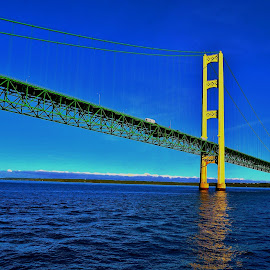 Mackinack Straights, Early Morning by Tim Hall - Buildings & Architecture Bridges & Suspended Structures ( upper peninsula, mackinack straights, suspension bridge, waterscape, reflections, blue water, travel, great lakes, early morning )