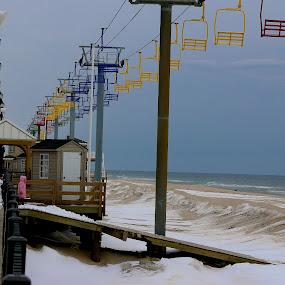 Seaside Swings by Cheryl Thomas - Landscapes Beaches ( sand, swings, snow, ocean, beach )