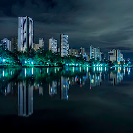 Lake & Buildings by Tony Saad - Buildings & Architecture Public & Historical ( brazil, night photography, long exposure, night, lake,  )