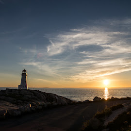 Peggys Cove by Kevin North - Landscapes Sunsets & Sunrises ( peggys cove, peggys, sunset, lighthouse, cove, sea, rock, sun )