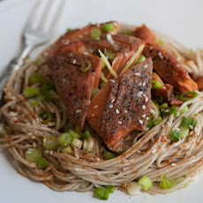 Buckwheat Soba Noodles & Ginger Sesame Dressing with Wild Sockeye Salmon