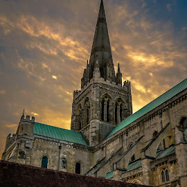 Chichester cathedral by Béla Pászti - Landscapes Travel ( england, chichester, sunset, cathedral, travel,  )