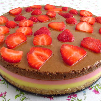 Vanilla And Strawberry Semifreddo Topped With Chocolate Mousse