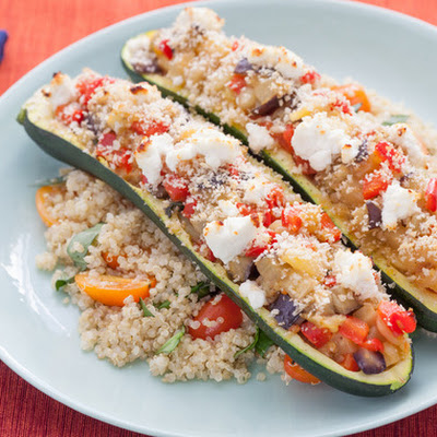 Ratatouille-Filled Zucchini with Tomato & Basil Quinoa