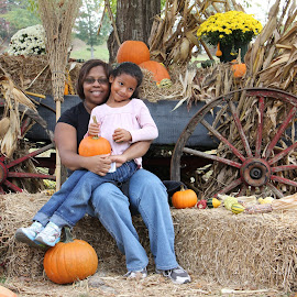 Zoe and Jacquie by Spacer Conrad - Novices Only Portraits & People ( pumpkin, wagon, daughter, mom, portrait )