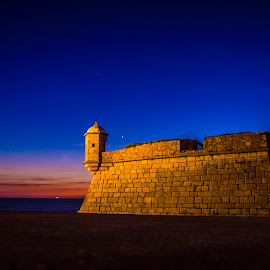 Castelo do Queijo - Cheese Castel by José Pedro Whiteman - Buildings & Architecture Public & Historical ( blue sky, fortress, sea, cheese, castle, mural, seascape, evening, porto )