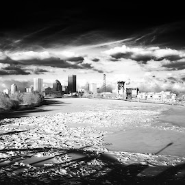 Genesee River by Enrique Santana Carballo - City,  Street & Park  Skylines ( ir, ford bridge, iced, rochester, river )