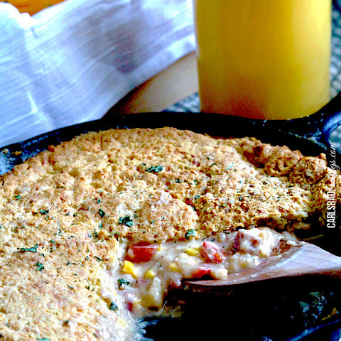 Cheesy Breakfast Pot Pie with Gouda Biscuit Crust