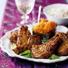 Lamb Tikka Cutlets with Pumpkin and Ginger Chutney