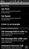 Screenshot of CALLER ANNOUNCER