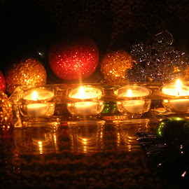 Reflections.. by Linda McCormick - Artistic Objects Other Objects ( candle, winter, christmas, bulbs, ornaments,  )