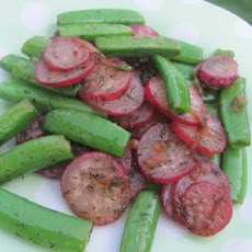 Sauteed Radishes and Sugar Snap Peas