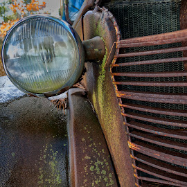 Chevy Grill and Lamp by Alan Roseman - Transportation Automobiles ( chevy truck, new england, truck, plymouth, old truck, work truck, decay, abandoned )