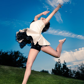 Leap of Faith by Scott Zinda - People Musicians & Entertainers ( flash, sky, girl, grass, ballet, dance, leap, jump, strobe )