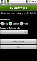 Screenshot of Shake2call