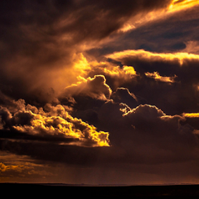 Altered sky by Del Candler - Landscapes Sunsets & Sunrises ( clouds, orange, blue, dramatic, moody, yellow, rain,  )