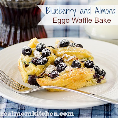 Blueberry and Almond Eggo Waffle Bake