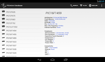 Screenshot of PICmicro Database