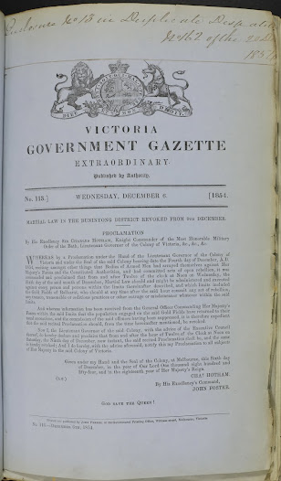 "This document, dated 6 December 1854, is Lieutenant Governor Charles Hotham's decree revoking martial law, which took effect from 9 December. <a href=""http://wiki.prov.vic.gov.au/index.php/Eureka_Stockade:Martial_Law_revoked"">Click here to see more of this record on our wiki</a>"