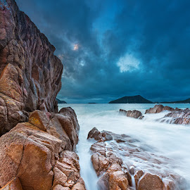 Flow by Jeff Aranas - Landscapes Beaches ( jeff aranas, sunrise, seascape, beach, landscape, rocks, waterflow )