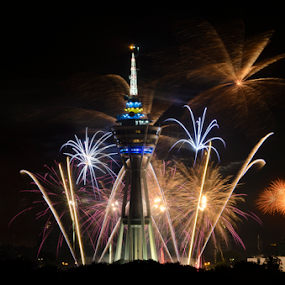 New Year Firework Over Tower by Mohammad Khairizal Afendy - Public Holidays New Year's Eve ( new, tower, splash, bright, firework, colorful, night, years, new years, fire, , color, colors, landscape, portrait, object, filter forge )
