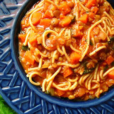 Italian Spaghetti Soup With Garlic