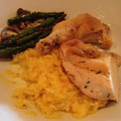 Risotto, pan seared chicken and wild mushrooms with asparagus.