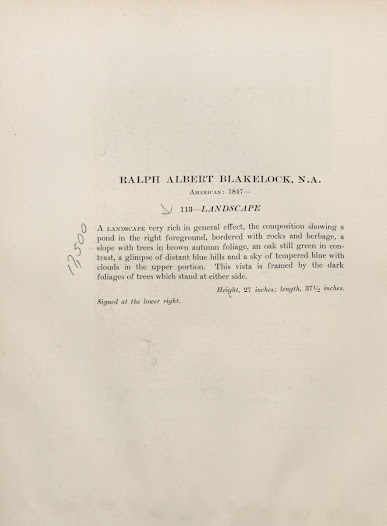 """A description of <i>Landscape</i> by American artist Ralph Albert Blakelock from the George A. Hearn auction catalogue. This piece sold for $17,500 to Bernet, according to a <i>New York Times</i> article dated February 28, 1918 (see previous slide). Annotations found in the <a href=""""http://arcade.nyarc.org/record=b1376053~S1"""">copy</a> held at the Frick Art Reference Library."""