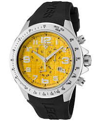 Swiss Legend Men's Eograph Chronograph Yellow Grid Dial Black Rubber SL-30041-07 Watch