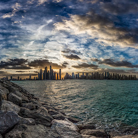 Dubai Morning ... by Wissam Chehade - City,  Street & Park  Skylines ( water, clouds, cityscapes, skyline, mydubai, sea, dubai marina, sun, towers, dubai, blue, uae, sunrise, rocks, golden hour, sunset )