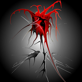 Valentine Rose by Simon Eastop - Digital Art Things ( rose, heart, thorns, blood, valentine )