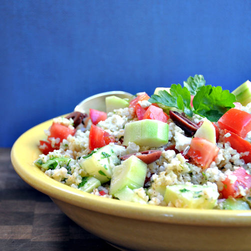 Tabouli Salad with Cucumber, Tomato, Feta, and Olives Recipe | Yummly
