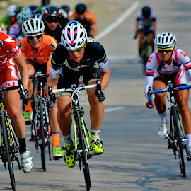 Close race by Erin Czech - Sports & Fitness Cycling ( bike, oshkosh, helmet, women, race, bicycle )