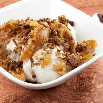 Peach Sundaes with Cardamom Gingersnap Topping