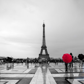 Red Umbrella by Timothy Johnson - Buildings & Architecture Statues & Monuments ( umbrella france, paris, tower, red, eiffel, plaza )