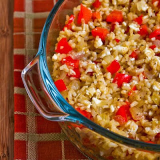 Greek-Inspired Leftover Brown Rice Casserole with Red Pepper, Onions, and Feta