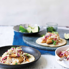 Fish Tacos with Creamy Chipotle Cabbage Slaw