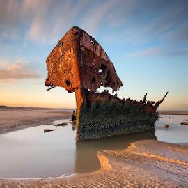 Baltray wrack by Peter Krocka - Transportation Boats ( ireland, sunset, sea, seascape, boat )