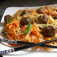 Asian Meatballs With Rice Noodles