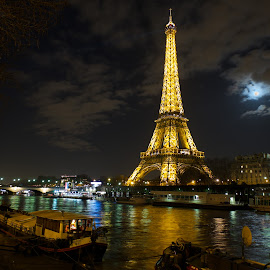 Paris - Seine - Night by Joerg Kampers - City,  Street & Park  Night ( fuji x, seine, paris, moon, night,  )