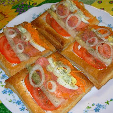 Rainbow Smoked Salmon Salad in Puff Pastry