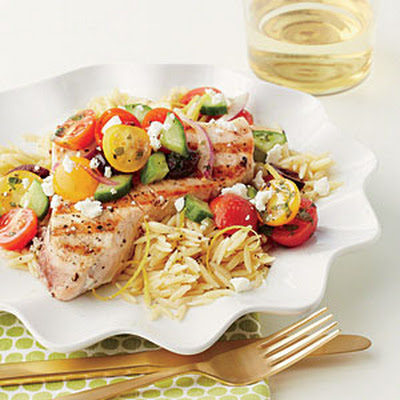 Grilled Swordfish with Chopped Greek Salad