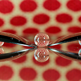by Dipali S - Artistic Objects Other Objects ( reflection, red, pokla dots, abstract art, artistic, spoon, spheres, refraction )